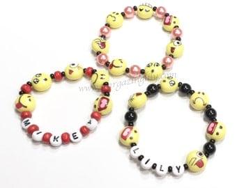 Emoji Party Favor Bracelet. Emoji Name Bracelet. Emoji Jewelry. ONE Bracelet. You choose the bead color and name.