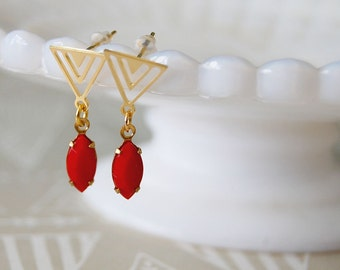 gold plated triangle post earrings - vintage red glass stone dangle- modern vintage