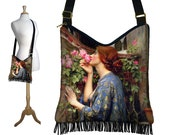 Hippie Bag Hobo Purse Crossbody Slouch Bag Gyspy Boho Fringe Bag, Waterhouse Soul of the Rose, Art Nouveau, Woman, blue pink MTO