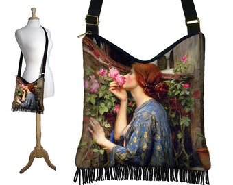 Hippie Bag Hobo Purse Crossbody Slouch Bag Gyspy Boho Fringe Bag, Waterhouse Soul of the Rose, Art Nouveau, Woman, blue pink MTO