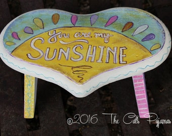 Handpainted Stool You Are My Sunshine Colorful Heart Shape Folk Art Mismatched colors and patterns