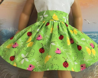 18 Inch Doll Clothes Girl Bugs on a Bright Lime Green Background Very Fully Gathered 50s Style Skirt with Waistband Medley NEW Style