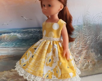 "14 and 14.5"" Doll Mustard and Charcoal Grey Moda Designer Fabric Color Theory Medley Version 2 OOAK Fits dolls like H4H"