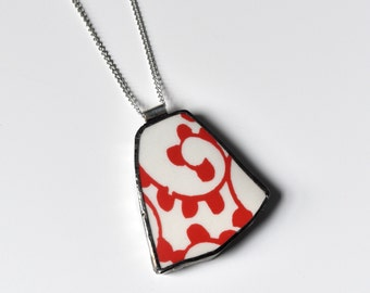 Broken China Jewelry Pendant - Red and White Pioneer Woman Design