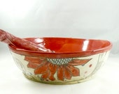 Large Red White and Blue Decorative Art Bowl for pasta, salad, fruit , kitchen serving bowl, decorative ceramic bowl 247