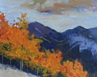 landscape painting, aspen painting, aspens, fall colors, orange, autumn decor, small landscape