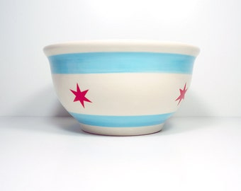 large bowl featuring the Chicago Flag design. Made to Order.