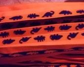 FOLDOVER Elastic 1 inch Orange Navy Dinosaur Dino Matte Plush Reversible 5 yds