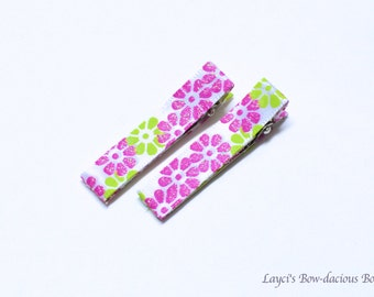 Pink and Green Flower Hair Clips, no slip clips, baby girl clips, toddler clips