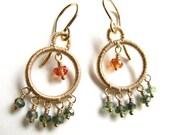 Mini chandelier Earrings Green and Orange Sapphires, Pink Tourmaline