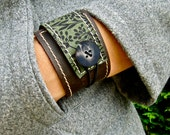 Leather Cuff Women's Wrap Bracelet, Florance Print in Brown & Asparagus, Adjustable Size * SALE * Coupon Codes