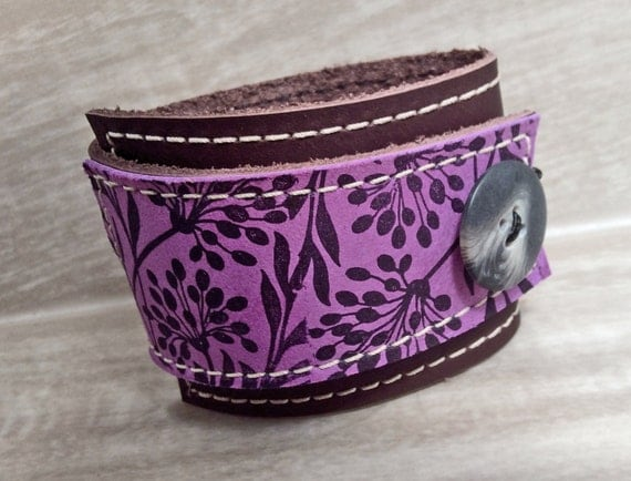 Leather Wrap Women's Bracelet Cuff, Florance Print in Brown & Purple, Adjustable Size