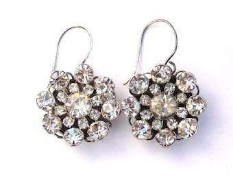 Crystal Earrings Silver Rhinestone Button Designer Custer Art deco Wedding Dangle Earrings