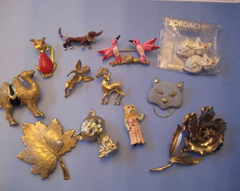 12 piece lot vintage animal pins, plus,  Sarah Coventry, enamel, dogs, cats, birds, etc, destash jewelry lot