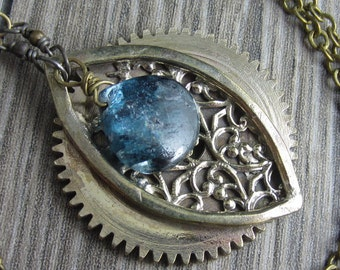 Heart of Blue Necklace - Brass gear and lace with blue kyanite
