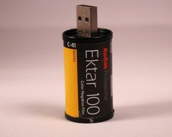 Handmade 35mm Kodak Ektar Film Canister Flash Drive USB stick 8GB / USB 2.0