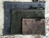 VEGAN Zipper Pouch Waxed Canvas/ Nesting Pouch/ Set of 3/ Canvas Zipper Bag/ Canvas Cosmetic Bag/ Travel Organizer/ Cord Organizer