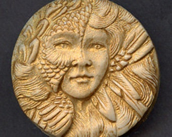 Polymer  Clay Gold Highlighted Art Nouveau Goddess Cab  GAN 2