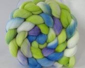 Hand Dyed Merino Wool Combed Top Roving  (4.0 oz.) - FIRST SPROUT -Spinning Fiber Hand Painted Kettle Dyed Braid Needle Felting