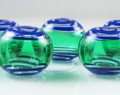 Emerald and Lapis Swirl Lampwork Glass Hollow Beads (7)