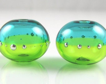 Green and Teal Fine Silver Droplet Hollow Lampwork Glass Bead Pairs