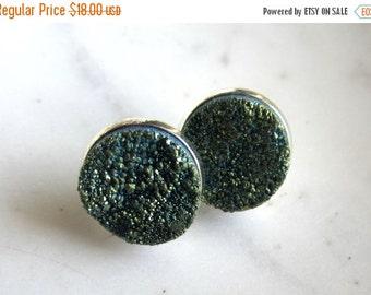 CIJ 35% OFF Green Druzy Post Earrings, Green Drusy Post Earrings, Stud Earrings.  Under 25, Gifts for Her.