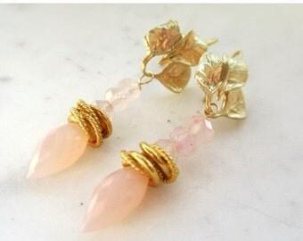 25% SALE Rose Quartz Dew Drop Earrings. Gold Leaf Ear Wires. Pink Gemstone Earrings. Under 25. Gifts for Her.