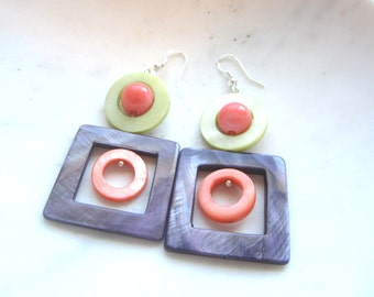Geometric Mother of Pearl Earrings. Geometric MOP Earrings. Purple, Coral and Lime Green Earrings.