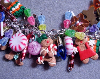 The ORIGINAL Candyland Gingerbread Christmas LOADED Charm Bracelet- Cookies, Candy, Mints, Lollipops and More! #3