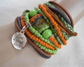 Lovely Boho Leather and Lampwork  Bead Wrap Bracelet or Necklace, Multi Strands of Leather and beads in shades of Lt.tans, greens and Orange