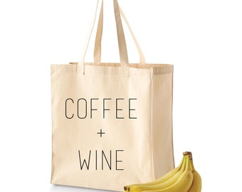 Grocery Tote | Grocery Bag | Reusable Grocery Bag | Coffee + Wine