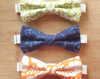 Men's matching bow ties - on adjustable neckband - bridal party - cotton or linen