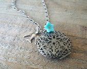 Antique Silver Locket Bird and Turquoise Glass Flower Necklace