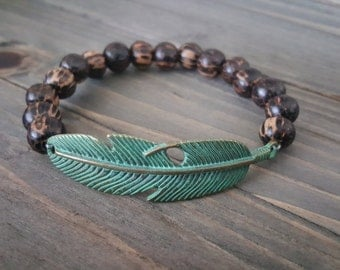Feather Bracelet, Patina Verdigris Feather and Wood Bracelet, Boho Stackable Bracelet