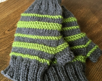 Moss and Concrete Mitts - Stripey Fingerless Mitts