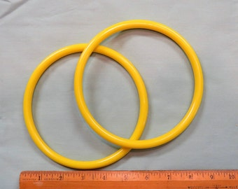 "Pair Plastic Purse Handles Bright Yellow Circle 6"" Round Vintage"