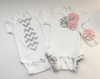One piece SIBLING twin set.... shabby chic and grey chevron... children's clothing--- new baby