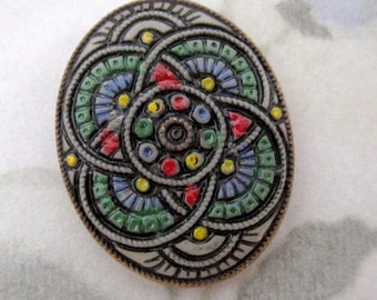 vintage hand painted glass intaglio flat back cabochon 25x20mm - f5034
