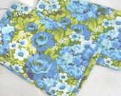 Vintage Pillow Cases, Floral Pillow Cases, Wabasso Cases, 1970's Pillow cases, Set of Two Pillowcases, King Size Pillow Cases, Pattern Cases