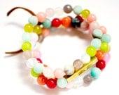 Beaded Mixed Gemstones Bar Bracelet, Colorful Gemstone Bar Bracelet Set, Beaded Bracelet set