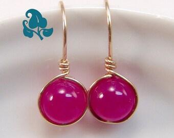 Mini Rose Jade dangle earrings Gold-Filled