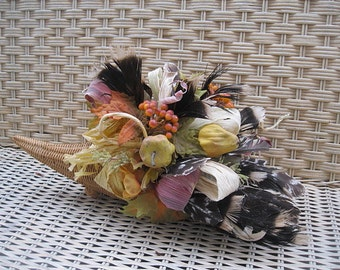 Turkey Feather CORNUCOPIA   Thanksgiving  CENTERPIECE decoration HORN of Plenty