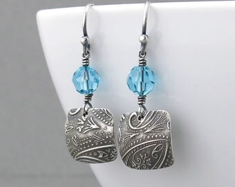 Turquoise Earrings Crystal Jewelry Sterling Silver Drop Earrings Small Dangle Earrings Handmade Jewelry Bohemian Jewelry  - Tracey
