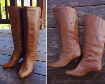 CARAMEL 1970's 80's Vintage Brown Tall Leather Boots with Suede Designs // size 6 M