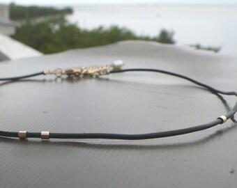 thin leather choker, black thin leather choker, black leather cord choker necklace, womens choker