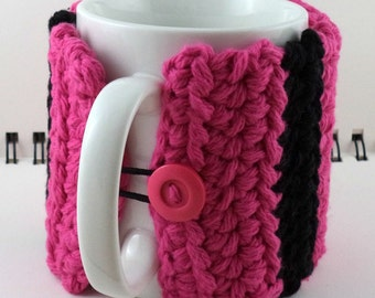 Crocheted Coffee or Ice Cream Cozy with Pocket in Hot Pink and Black Cotton with Hot Pink Button (SWG-E12)