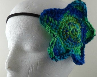 Crocheted Large Star Headband - Greens and Blues with Glitter (SWG-HH-STLG12)