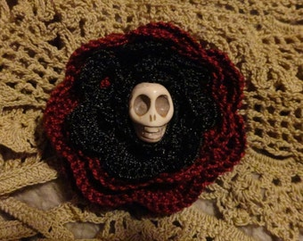 Skull Brooch Skull Hairclip Halloween Goth Wiccan Burgundy Black Lace Crochet Flower