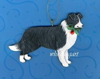 Artisan Handpainted Border Collie Christmas Ornament