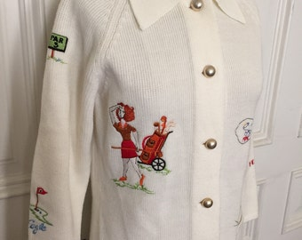 Vintage 1960s embroidered golf cardigan sweater